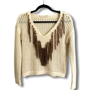RD STYLE Cream Knit Crop Sweater Faux Suede Fringe